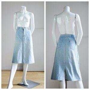 Vintage Levis Light Wash Denim Orange Tab Skirt